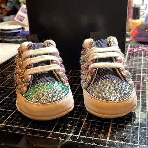 Pink & blue bling baby converse